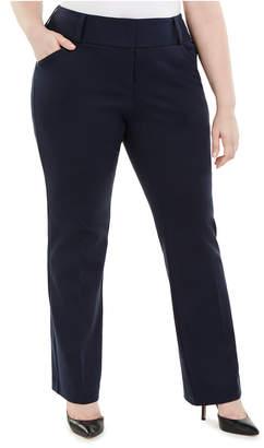 Alfani Plus Size Tummy-Control Faux-Leather Trim Trousers