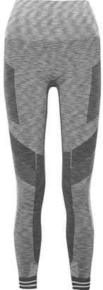 LNDR - Focus Cropped Paneled Stretch-knit Leggings - Light gray