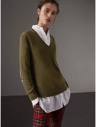 Burberry Check Detail Cashmere V-neck Sweater