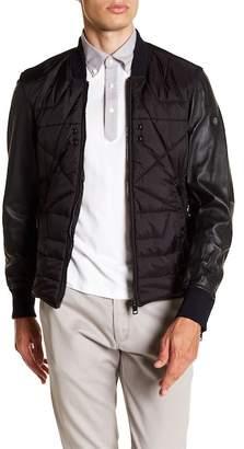 Diesel Leather Sleeve Bomber Jacket