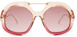Fendi Oversized Aviator Sunglasses - Womens - Red Multi