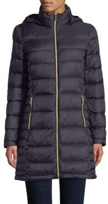 "MICHAEL Michael Kors THE COAT EDIT 36"" Long Packable Down Navy Jacket"