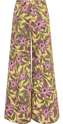 RED Valentino Floral-Print Stretch-Cotton Wide-Leg Pants