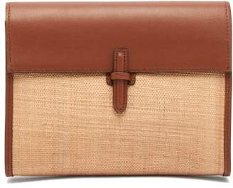 Hunting Season Leather Trimmed Woven Clutch Bag - Womens - Tan Multi