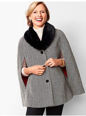 Talbots Faux-Fur Collar Herringbone Cape