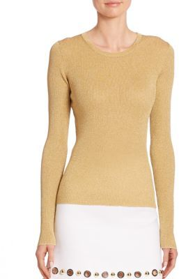 Michael Kors Collection Lurex Crewneck Sweater $495 thestylecure.com