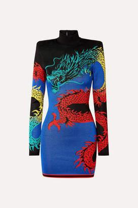 Balmain Jacquard-knit Turtleneck Mini Dress - Blue