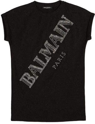 Balmain Kids' Metallic-Embroidered Logo Dress, Size 10-16