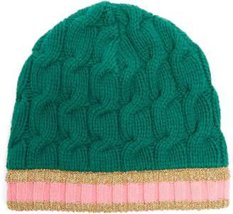 Gucci Striped-edge cable-knit beanie hat