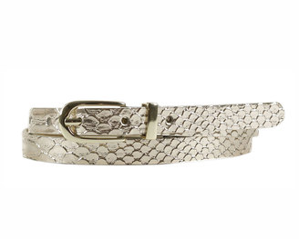 Neiman Marcus Snake-Embossed Skinny Belt, Gold $26 thestylecure.com