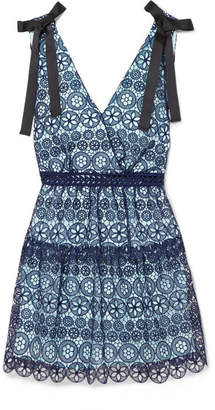 Self-Portrait Bow-detailed Tiered Guipure Lace Mini Dress - Navy