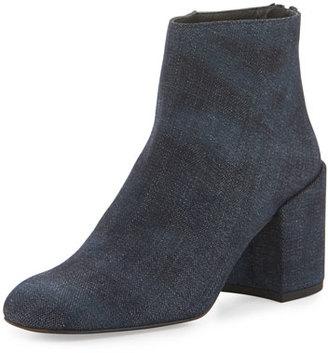 Stuart Weitzman Bacari Denim Chunky-Heel Bootie, Navy Antique Denim $525 thestylecure.com