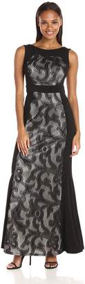 Sangria Women's Lace Evening Gown, Black/Nude