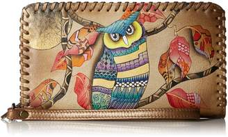 Anuschka Handpainted Leather | Zip Around Wristlet With Removable Strap |
