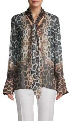 f0e420514b5189 Equipment Jacqueleen Leopard Print Tie Neck Silk Blouse