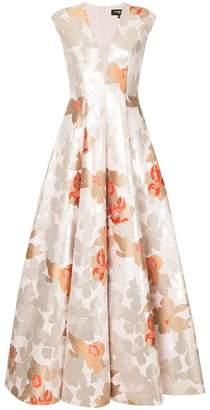 Paule Ka floral v-neck gown