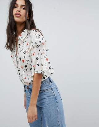 Lily & Lionel Ruffle Shirt in Doodle Print