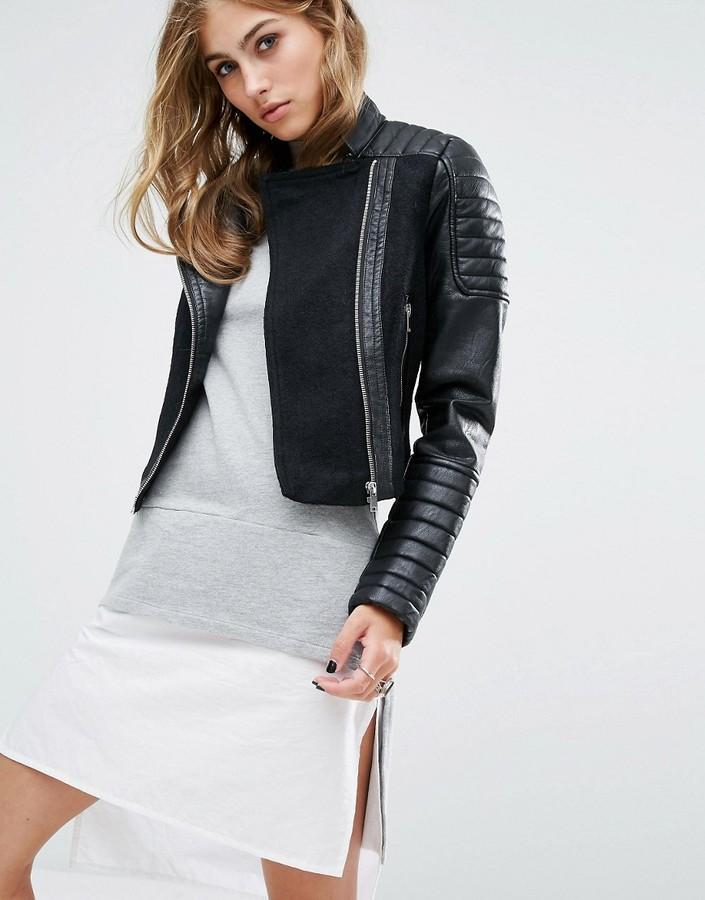 Noisy May Leather Look Wool Mix Biker Jacket
