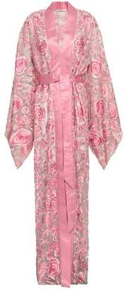 Naeem Khan Embroidered Satin-trimmed Silk-organza Kimono Coat