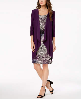 R & M Richards Petite Printed Dress, Necklace & Draped Jacket