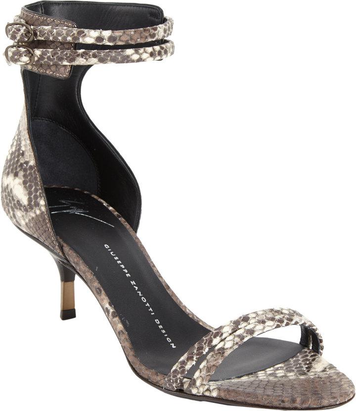 Giuseppe Zanotti Snakeskin-Stamped Double-Strap Sandal