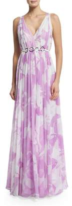 Halston Sleeveless Floral-Print Belted Dress