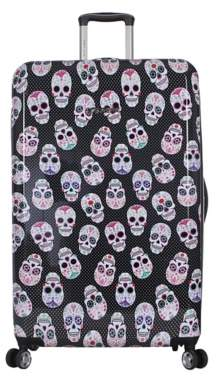 Betsey Johnson Luggage Skull Party 30-Inch Checked Hard Shell Luggage