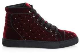 Louis Leeman Stud Quilted Velvet High-Top Sneakers