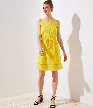 LOFT Ruffle Strap Tie Waist Dress