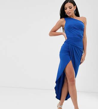 John Zack Tall one shoulder asymmetric midi dress with thigh split in cobalt
