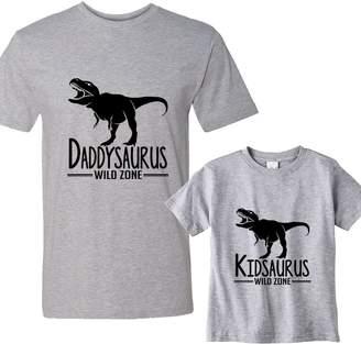 NanyCrafts Daddysaurus - Kidsaurus Daddy and Me Matching Shirts Set Adult's Medium shirt - Boy's Shirt 3 Years