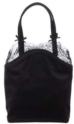Anya Hindmarch Satin Lace-Trimmed Handle Bag