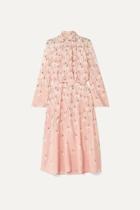Valentino Floral-print Silk Crepe De Chine Midi Dress - Pink
