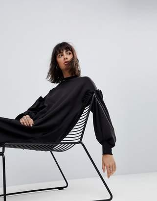 Asos 3D Pleat Ovoid Midi Sweat Dress