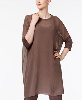 Eileen Fisher Silk-Blend Shift Dress $298 thestylecure.com