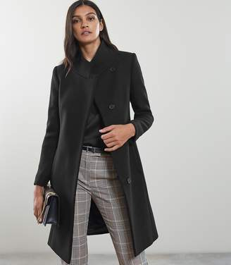 Reiss MABEL SINGLE BREASTED LONGLINE COAT Black