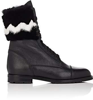 Manolo Blahnik Women's Campchato Leather & Fur Combat Boots