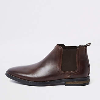 Mens Dark Brown leather Chelsea boots