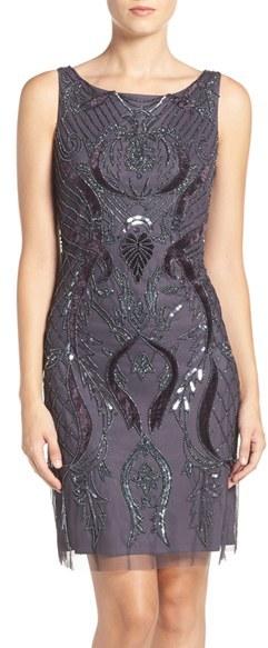 Adrianna PapellWomen's Adrianna Papell Embellished Mesh Sheath Dress