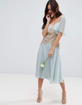 Asos DESIGN Bridesmaid contrast lace panel midi dress