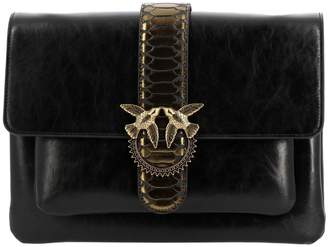 Pinko Crossbody Bags Love Bag Python Shoulder Bag In Vintage Leather With Maxi Metal Buckle