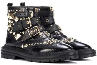 Burberry Everdon embellished leather ankle boots