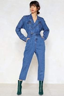 Nasty Gal Blue Jean Baby Denim Jumpsuit