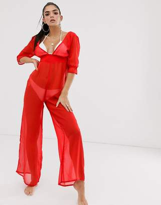 Asos Design DESIGN chiffon plunge beach jumpsuit in red