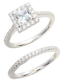 Lafonn Joined at the Heart Cushion Cut Halo Wedding Ring Set
