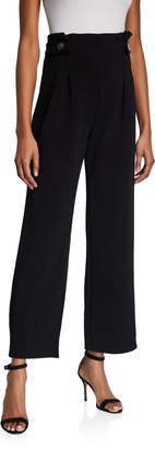 Black Tape Pleated Button-Tab Palazzo Pants