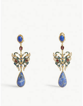 At Selfridges Lapis Percossi Papi Lazuli Stone And Crystal Embellished Drop Earrings