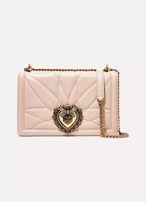 Dolce & Gabbana Devotion Embellished Quilted Leather Shoulder Bag - Pastel pink