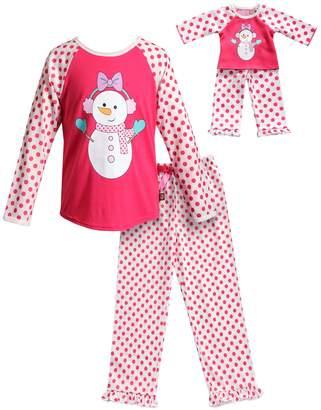 Dollie & Me Girls 4-14 Snowman & Polka-Dot Top & Bottoms Pajama Set & Matching Doll Pajamas