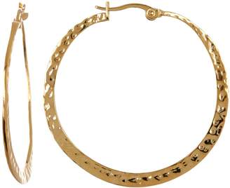 Rivka Friedman 18K Gold Clad Hammered Flat Hoop Earrings